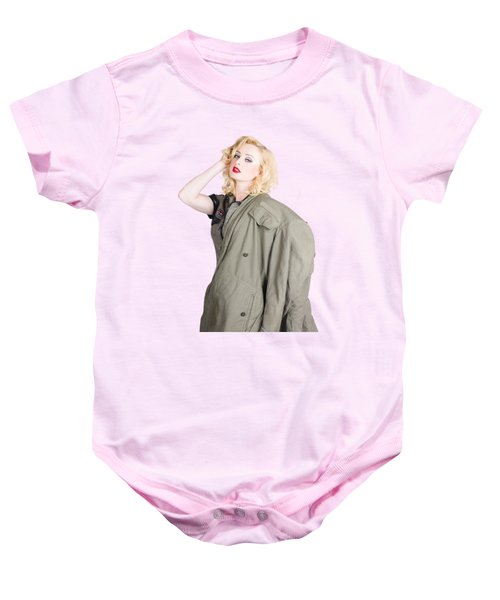 Beautiful Young 1940s Retro Style War Pinup Baby Onesie