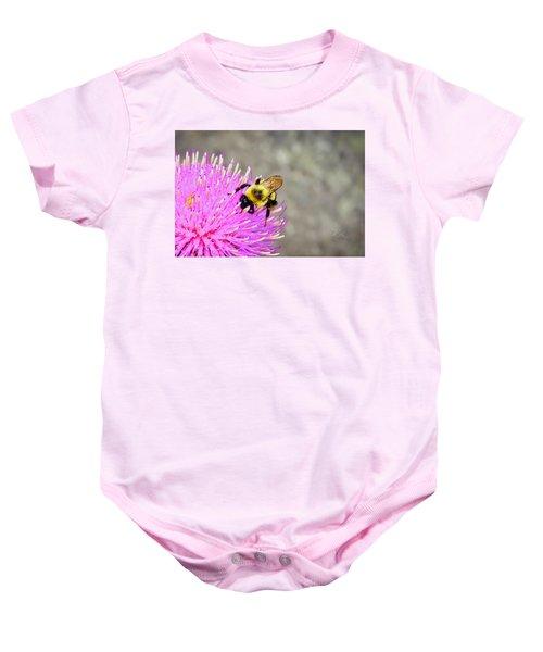 Bee On Pink Bull Thistle Baby Onesie