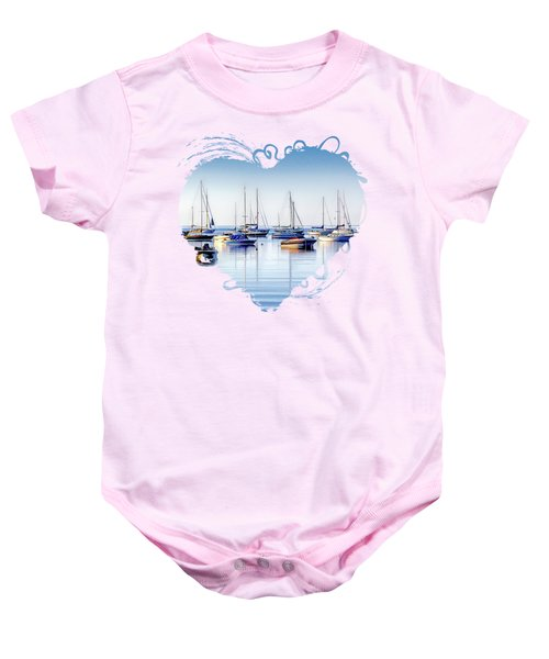 Boat Reflections Panorama Baby Onesie