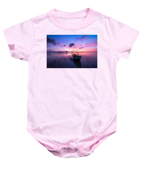 Boat Under The Sunset Baby Onesie
