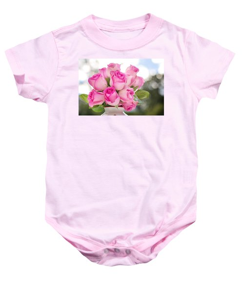 Bouquet Of Pink Roses Baby Onesie