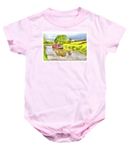 Canal Boat On The Leeds To Liverpool Canal Baby Onesie