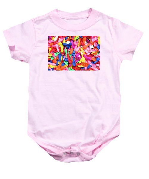 Close-up Of Many Colorful Children's Balloons, Background For Mo Baby Onesie