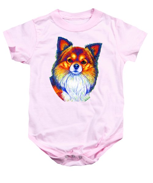 Colorful Long Haired Chihuahua Dog Baby Onesie