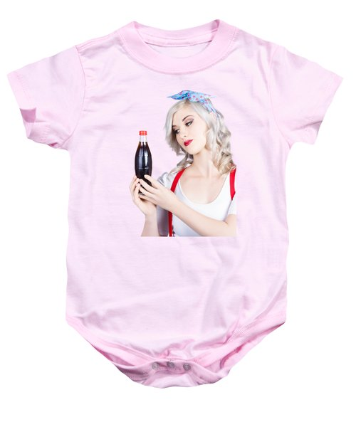 Cute Pin Up Girl With Soda Bottle. Vintage Cafe Baby Onesie