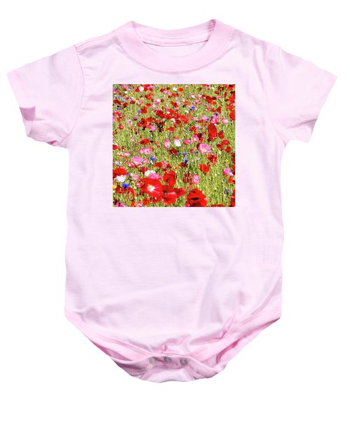 Field Of Red Poppies Baby Onesie