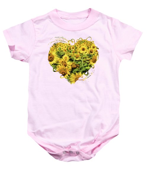 Field Of Sunflowers Baby Onesie
