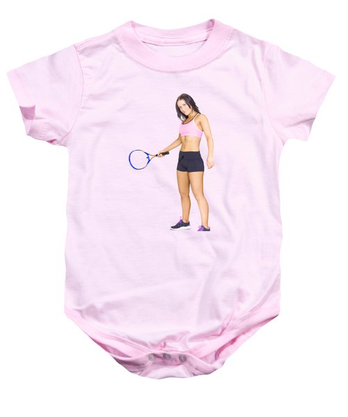 Fit Active Female Sports Person Playing Tennis Baby Onesie