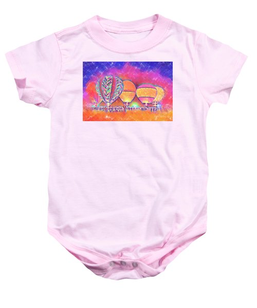 Five Glowing Hot Air Balloons In Pastel Baby Onesie