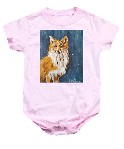 Fox Winter Night Baby Onesie