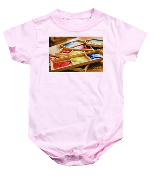 Geometric Material In Montessori Classroom For The Learning Of Children In Mathematics Area. Baby Onesie