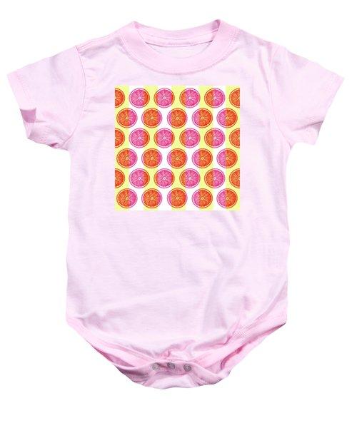 Grapefruit Slice Pattern 1 - Tropical Pattern - Tropical Print - Lemon - Orange - Fruit - Tangerine Baby Onesie