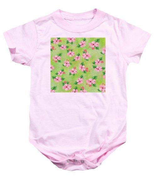 Green Batik Tropical Multi-foral Print Baby Onesie