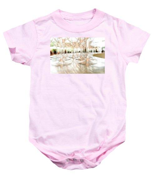 Group Of Empty Transparent Glasses Ready For A Party In A Bar. Baby Onesie