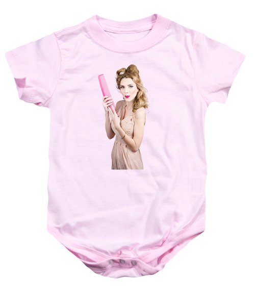 Hair Style Model. Pinup Girl With Large Pink Comb Baby Onesie