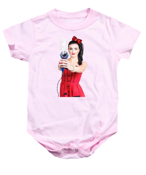 Hairdresser Woman Shooting A Cool Haircut In Style Baby Onesie