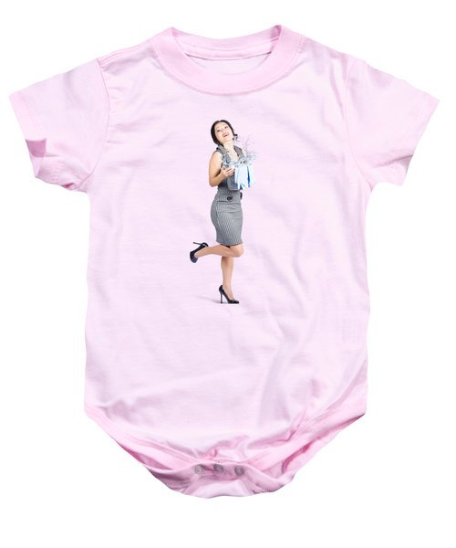 Happy Cleaning Woman Kicking Up Dirt And Grime Baby Onesie