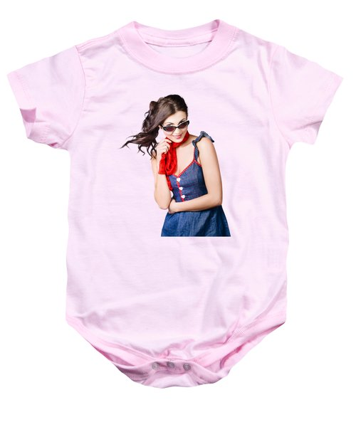 Happy Smiling Young Pinup Girl In Rockabilly Style Baby Onesie