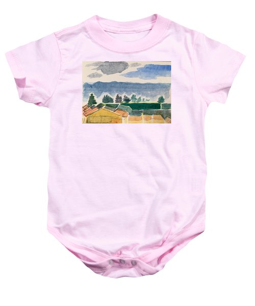Houses, Trees, Mountains, Clouds Baby Onesie