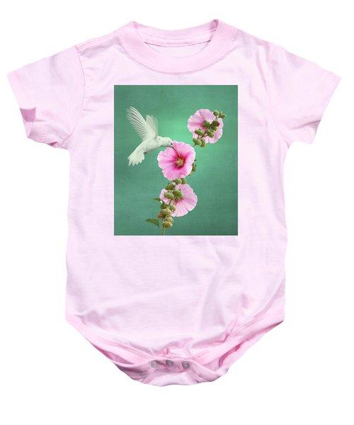 Hummingbird And Malva Wildflower Baby Onesie