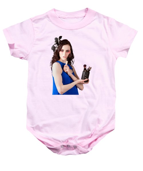 Isolated Makeup Artist Holding Blush Powder Brush Baby Onesie
