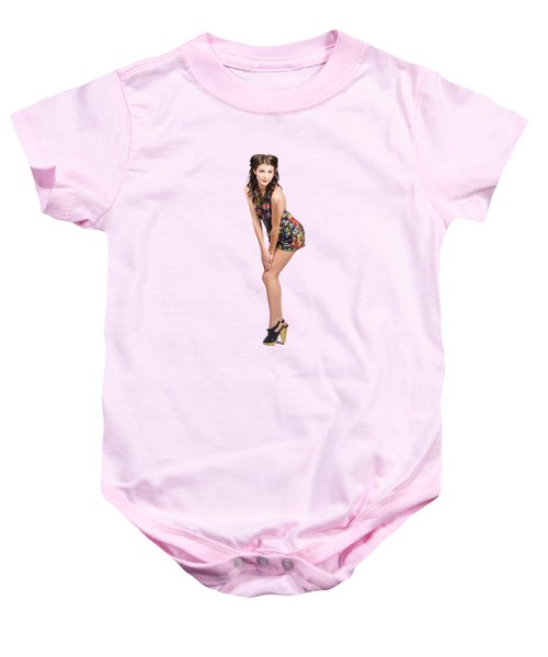 Isolated Portrait Of A Lovely Retro Pin Up Woman  Baby Onesie