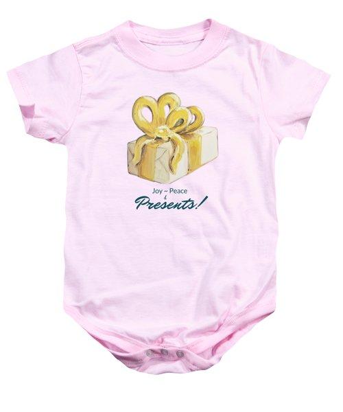 Joy, Peace And Presents Baby Onesie