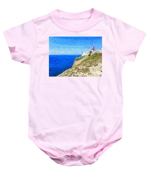 Lighthouse On Top Of A Cliff Overlooking The Blue Ocean On A Sunny Day, Painted In Oil On Canvas. Baby Onesie