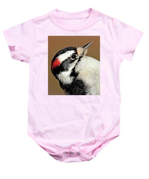 Male Downy Woodpecker Baby Onesie
