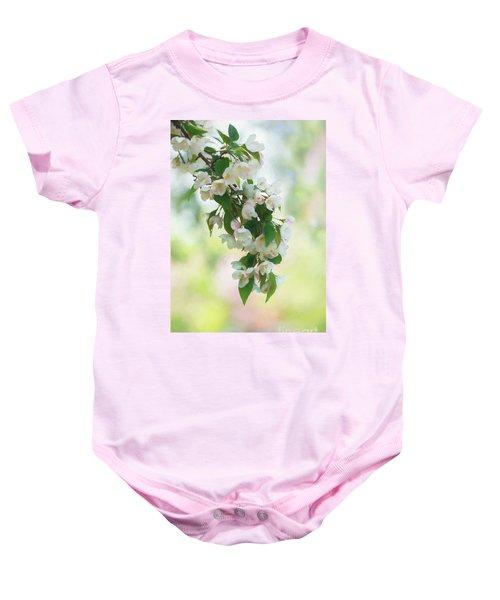Painted Crabapple Blossom Cascade Baby Onesie