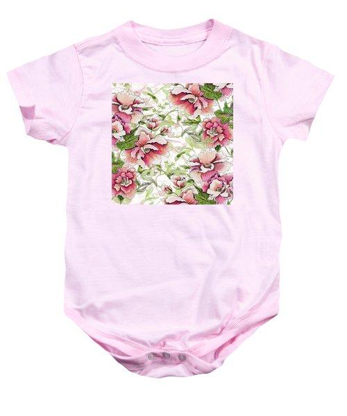 Pink Peony Blossoms Baby Onesie
