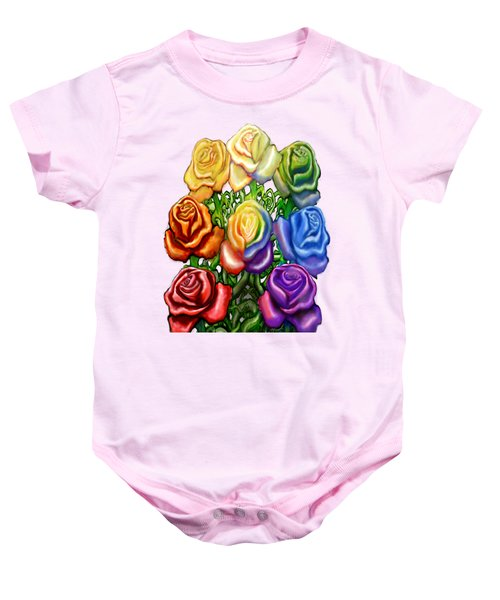 Rainbow Of Roses Baby Onesie