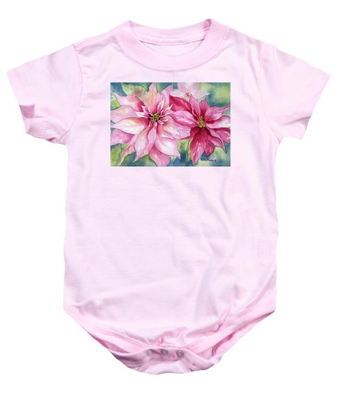 Red And Pink Poinsettias Baby Onesie