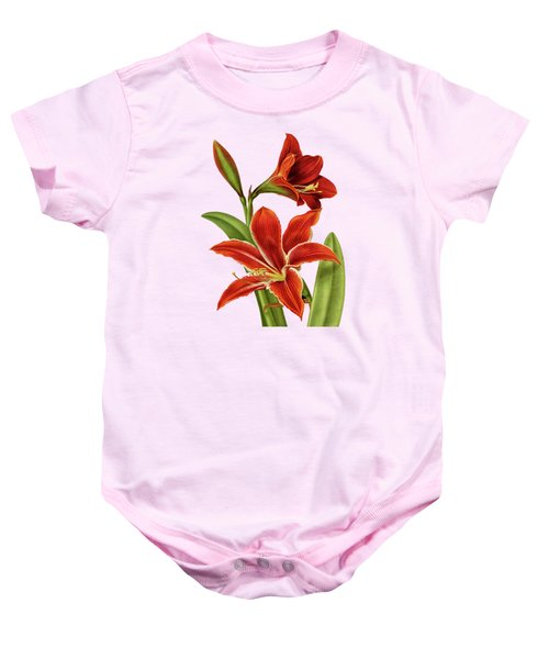 Red Christmas Lily Baby Onesie