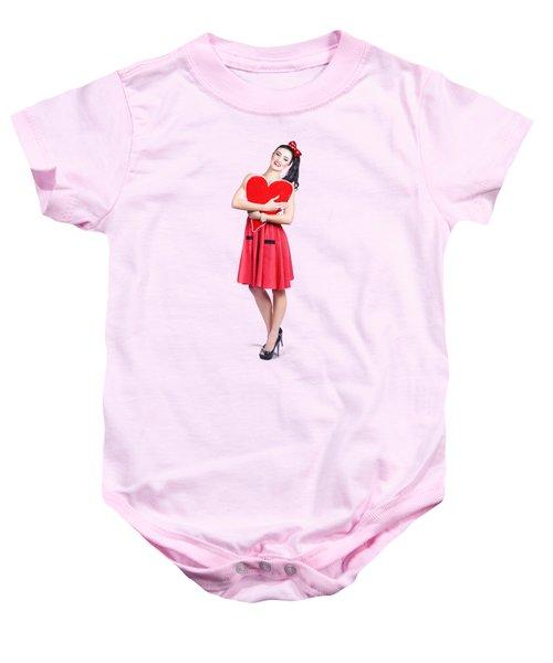 Red Heart Woman Baby Onesie