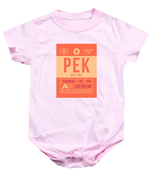 Retro Airline Luggage Tag 2.0 - Pek Beijing International Airport China Baby Onesie