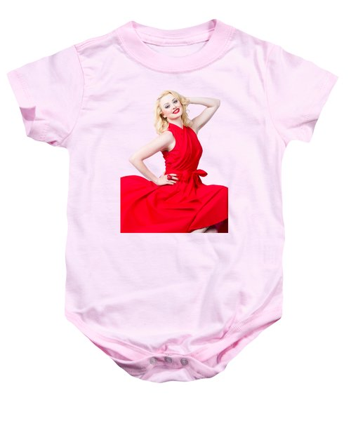 Retro Blond Pinup Woman Wearing A Red Dress Baby Onesie