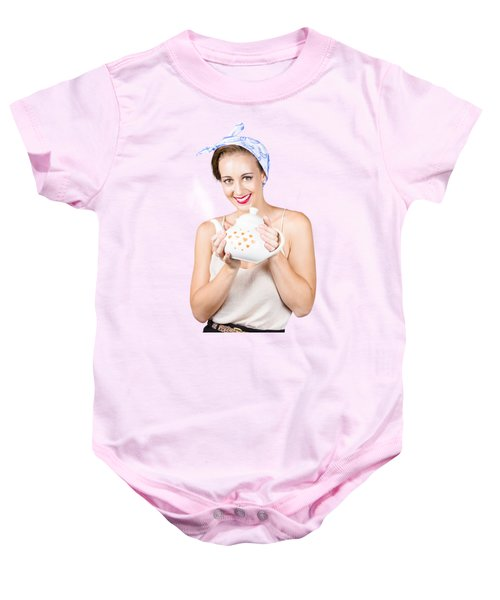 Retro Housewife With Teapot Baby Onesie