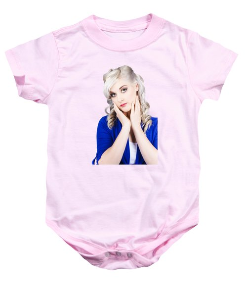 Retro Pin-up Woman With Beautiful Face Baby Onesie