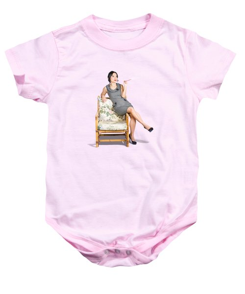 Retro Woman On Lounge Chair With Cigarette Holder Baby Onesie