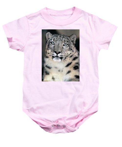 Snow Leopard Portrait Endangered Species Wildlife Rescue Baby Onesie