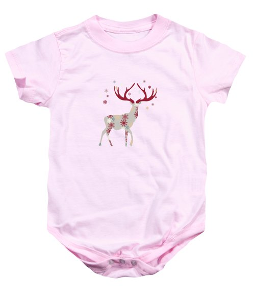Snowflake Christmas Stag I Baby Onesie