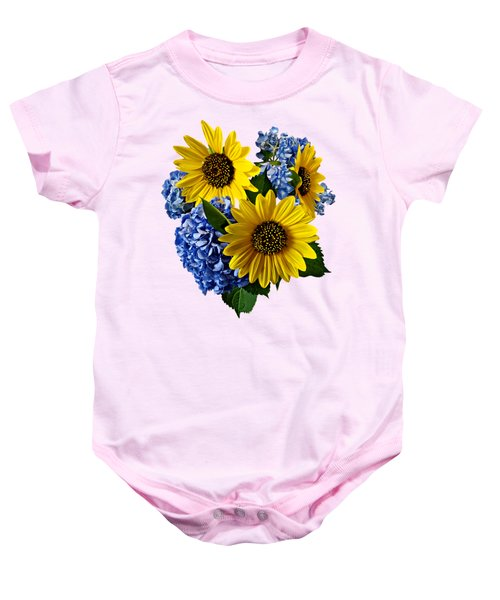 Sunflowers And Hydrangeas Baby Onesie