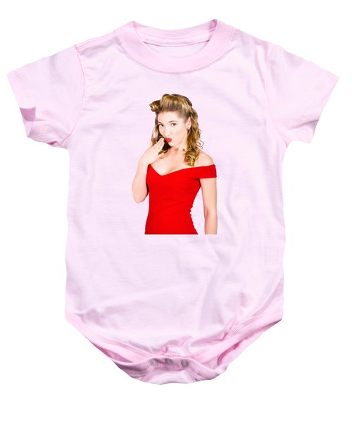 Surprised Retro Pinup Girl On Pink Background Baby Onesie