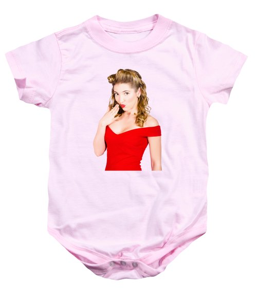 Surprised Retro Pinup Girl On Pink Background Baby Onesie