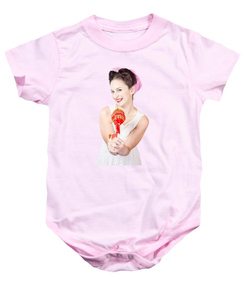 Sweet Lolly Shop Lady Offering Over Red Lollipop Baby Onesie