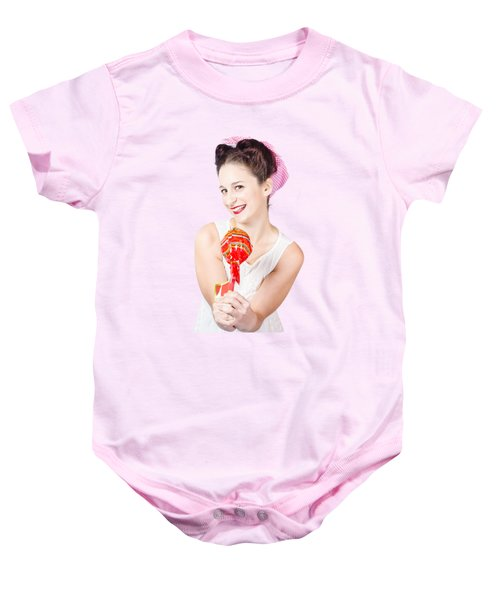 c7638dd17 Sweet Lolly Shop Lady Offering Over Red Lollipop Baby Onesie