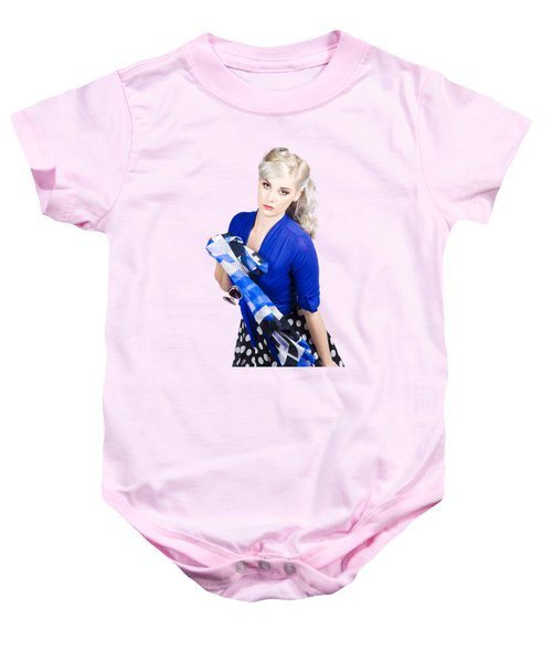 The Classic Pin-up Image. Girl In Retro Style Baby Onesie