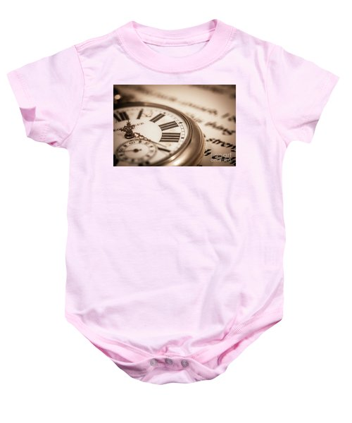 Time And Words Baby Onesie