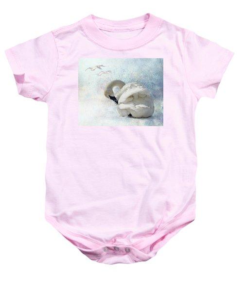 Trumpeter Textures #2 - Swan Preening Baby Onesie